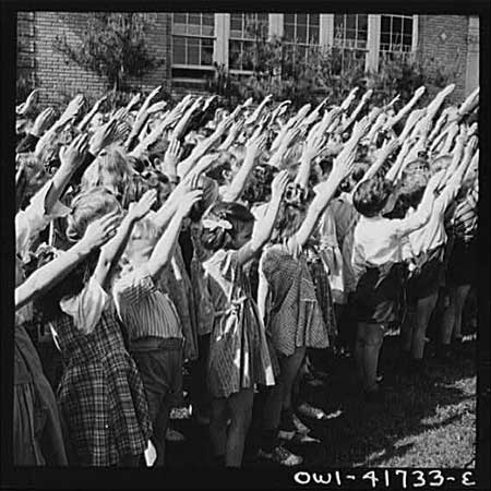 Photo showing the old salute, taken in May 1942 in Southington, CT