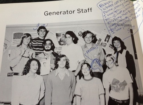 "Three of those previously mentioned: Back row: the striped shirt and boyish-grin belong to Tim Ferguson; front row: L, Pete get-a-load-of-that-1974-hair Hecht; R Scott Harris, who was engaged in a campaign to get me to leave student government (""The BOC"") and join The Generator staff, which almost excuses explains his scribbled commentary; second from R, Janis Carr."
