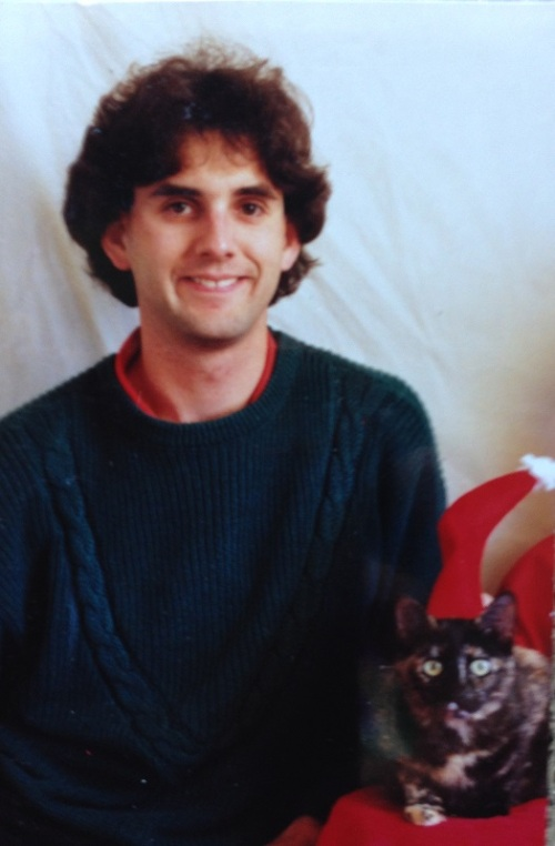 A long long time ago in a galaxy far far away (Palo Alto), with Christmas kitty, Sheena.