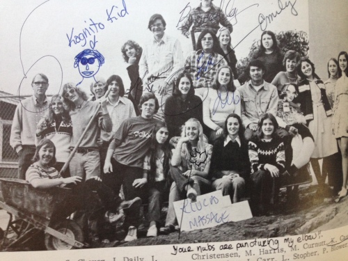 1975 The Generator Staff photo, from my yearbook. Ted Clucas standing in the back row, far left. Yours truly front and center, to the left of Clucas Massage Parlor sign. Our mascot, Theodore, is seated in the second row, far right.