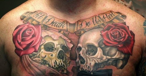 wedding_skulls_tattoo_on_chest