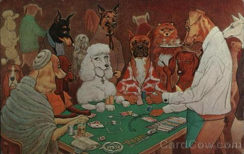 A Friendly Game of Black Jack - Dogs Playing Blackjack